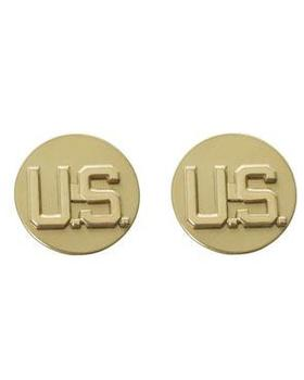 U.S Collars, 1 Pair of U.S. Army Gold Colour Circular Collar Badges