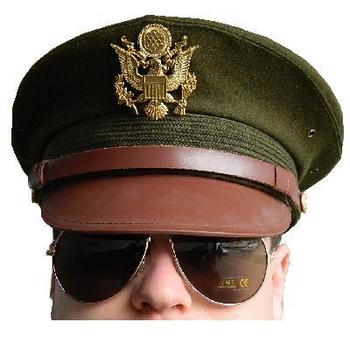 U.S. Army Wartime WWII style Officers Peaked Visor Hat / Cap - khaki