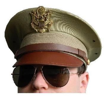 U.S. WWII style Sand / tropical army peaked Officers visor cap and Badge - new