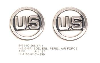 US Airforce Collar Badges Silver / Chrome