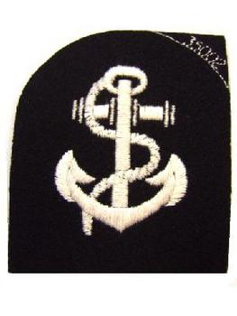 New Un-issued Leading Rate cloth badge (White anchour on black)