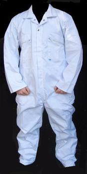 White Boilersuit / Coverall Zipped Front PolyCotton Boilersuit