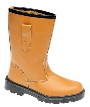 Fur Lined Tan Leather Rigger Boot With Steel Toe cap and Steel Midsole (M20BSM)