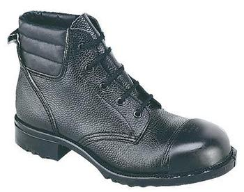 External Safety Cap Boots Black Leather With Padded Collar (M492A)