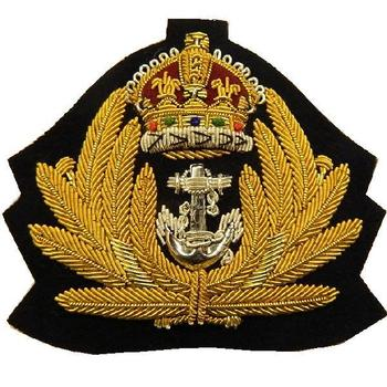 WWII Style Kings Crown Gold Wire Royal Navy Cap Badge